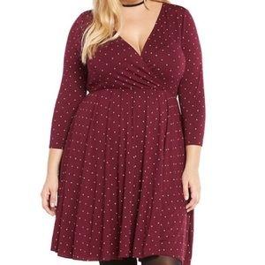 Torrid polka dot surplice burgundy skater dress